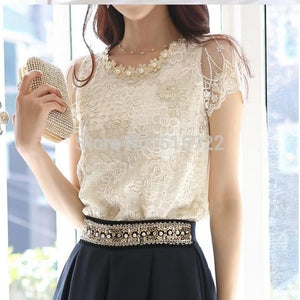 Hot NEW women's Fashion Elegant Beading Lace Embroidered The Formal Tops And Blouses women blouses shirt