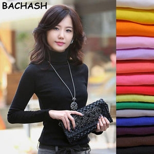 BACHASH High Quality Fashion Spring Autumn Winter Sweater Women Wool Turtleneck Pullovers Fashion