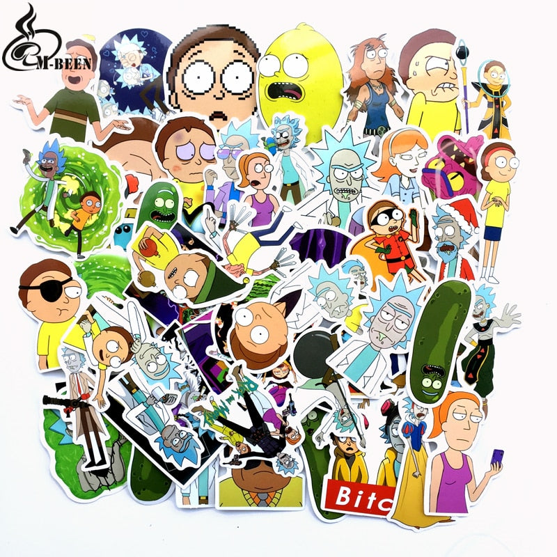 TD ZW 69Pcs/lot American Drama Rick and Morty Stickers Decal For Snowboard Luggage Car Fridge Car-