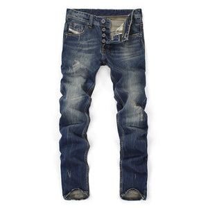 GEODE Famous Balplein Brand Fashion Designer Jeans Men Straight Dark Blue Color Printed Mens Jeans