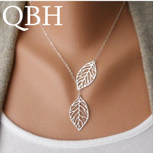 NK607 New Punk Fashion Minimalist Two Leaves Pendant Clavicle Necklaces For Women Jewelry Gift