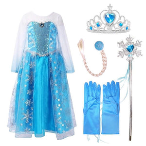 nicoevaropa Girls Elsa Dresses Costume with/without Hair Tiara Accessory Set Blue Lace Long Sleeve New Kid Sequinned Dress Children Cosplay