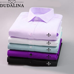 DUDALINA Men Casual Long Sleeved Solid shirt Slim Fit Male Social Business Dress Shirt Brand Men Clothing Soft Comfortable
