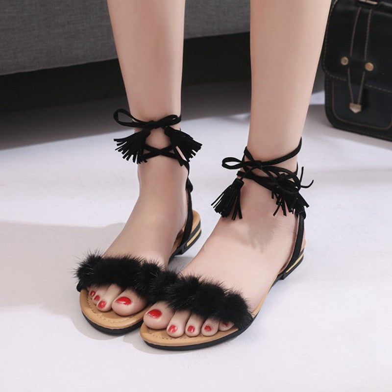 f1be441603aa1e COOTELILI Real Fur Ankle Strap Gladiator Sandals Women Flats Summer Tassel  Shoes Ladies Wedding Beach Sandals