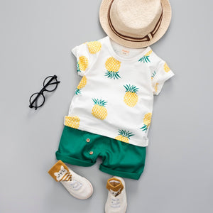 Baby Boys Girls Summer Clothes Fashion Cotton Set Printed Fruit Sports Suit For A Boy T-Shirt +