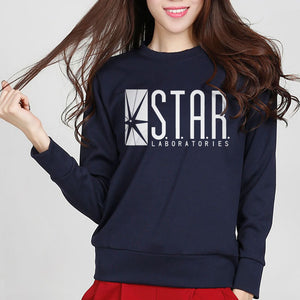 New Fashion Autumn Funny American Drama The Flash Sweatshirt Star Laboratories Women Comic Books TV Star Labs Slim Hoodies
