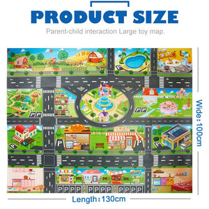 39Pcs City Map Car Toys Model Crawling Mat Game Pad for Children Interactive Play House Toys (28Pc