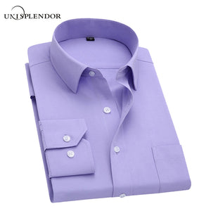 Long Sleeve Slim Men Dress Shirt Brand New Fashion Designer High Quality Solid Male Clothing Fit Business Shirts 4XL YN045