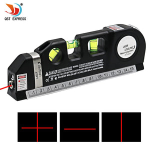 1Pc Multipurpose Level Laser Horizon Vertical Measure Tape Aligner Bubbles Ruler