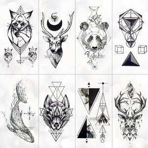 Geometry cool Temporary Tattoo Sticker Women Minimalist lines pattern Body Art New Design Fake Men