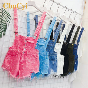CbuCyi Fashion Denim Overalls for Women Jumpsuit Female Denim Rompers Womens Playsuit Salopette Straps Overalls Shorts Rompers