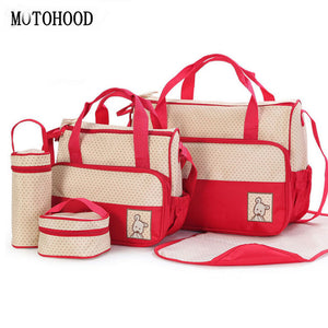 MOTOHOOD 39*28.5*17CM 5pcs Baby Diaper Bag Suits For Mom Baby Bottle Holder Mother Mummy Stroller