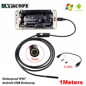 Antscope 7mm/5.5mm 1M Endoscope Mirco USB 2m 6LED Endoscope Camera Android Waterproof Pipeline PCB