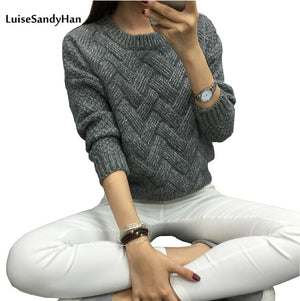 LuiseSandyHan Women Pullover Female Casual Sweater Plaid O-neck Autumn and Winter Style