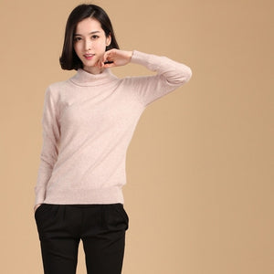 autumn winter cashmere sweater female pullover high collar turtleneck sweater women solid color lady