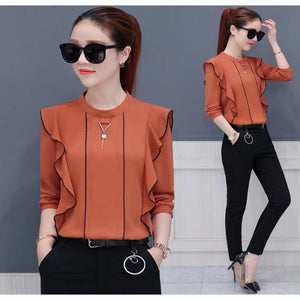 New Autumn Women Tops Ruffled Long Sleeve Chiffon Blouse Mujer Fashion Ladies Shirts Pink Yellow Khaki Blue Blusa Feminino