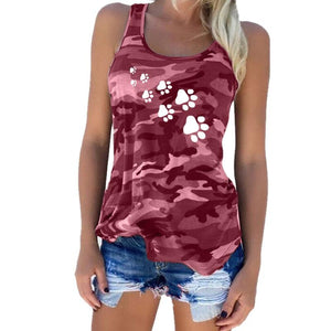 Camouflage Dog Paw Print T-Shirt Women Sleeveless Tshirt Top Femme Funny Tumblr Kyliejenner
