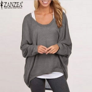 Spring Autumn Women Blouse New Fashion Batwing Long Sleeve Casual Loose Solid Color Shirt Plus Size Sexy Tops Blusas