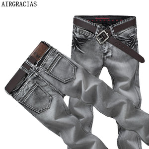 AIRGRACIAS Mens Jeans Classic Retro Nostalgia Straight Denim Jeans Men Plus Size 28-38 Men Long