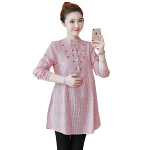 6530# Waist Pleated Embroidery Cotton Maternity Shirt Spring & Autumn Blouse Tops Clothes for