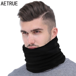 AETRUE Fashion Men Winter Scarf Ring Women Knitted Scarves For Men Neck Shawl Snood Warp Collar Warm