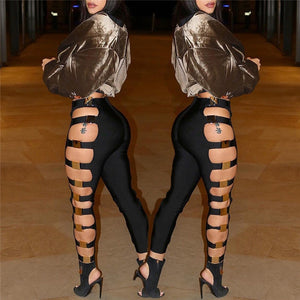 New Sexy Women Hollow Out Holes Pants Summer Bandage Wet Look Sexy Faux Leather Pants Trousers