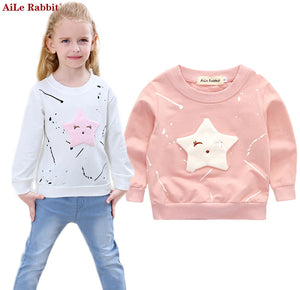 AiLe Rabbit New Baby Girls Clothing Banner Star Girls Long Sleeve T Shirt Children's Clothing Casual Tops Tee Shirt