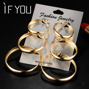IF YOU Rose Gold Color Circle Oversize Earring Set For Women Vintage Wide Statement Hoop Earring