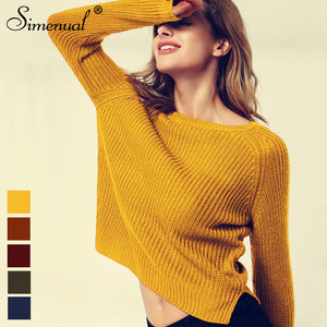 Simenual Fashion yellow sweaters for women autumn winter knitted jumper sueter mujer side slit lady's sweater pull clothes