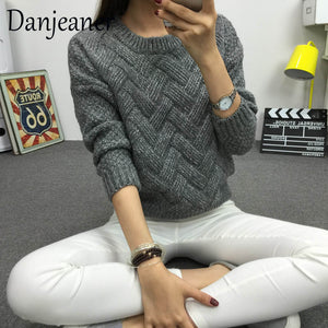 Danjeaner 2018 Vintage Women Sweater New Fashion O-neck Pullover Winter Knit Basic Tops Loose Female