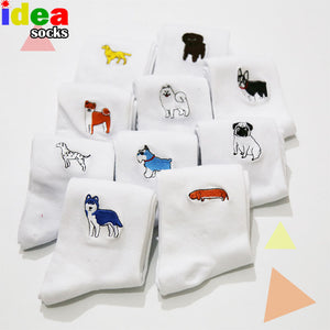 cute animal husky embroidery women cotton white socks lovely dog Jacquard female pure color socks