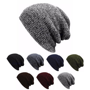 Hip Hop Knitted Hat Women's Winter Warm Casual Acrylic Slouchy Hat Crochet Ski Beanie Hat Female