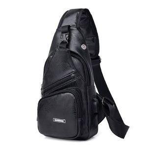 Cross-Border For Custom PU Shoulder Bag Men'S Charging Bag Men'S USB Chest Bag Diagonal Package