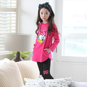 Hot Style Children's Clothes Fashion Spring and Autumn Suit Cartoon Ducks Cotton Child 2pc sets for Girls 2-9 Ages