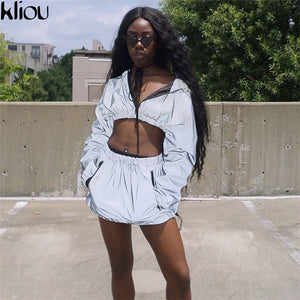 Kliou Fashion Reflective Zipper Hooded Women Two Pieces Sets Autumn Reflective Hoodies Short Skirts Zip Pockets Female Sets