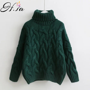 H.SA Women Turtleneck Sweaters Autumn Winter Pull Jumpers European Casual Twist Warm Sweaters Female