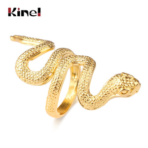 Kinel Fashion Snake Rings For Women Gold Color Black Heavy Metals Punk Rock Ring Vintage Animal Jewelry