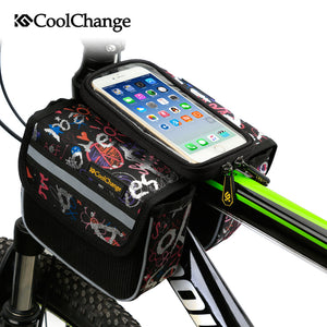 CoolChange High Quality Cycling Bike Front Frame Bag Tube Pannier Double Pouch for Cellphone Bicycle