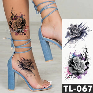 Water Transfer Dark splash ink realistic roses Temporary Tattoo Sticker Arm leg back Pattern body