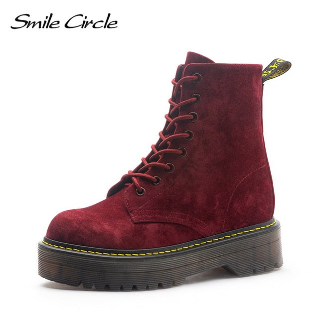 Smile Circle Size36-41 Chunky Motorcycle Boots For Women Autumn Fashion Round Toe Lace-up Combat
