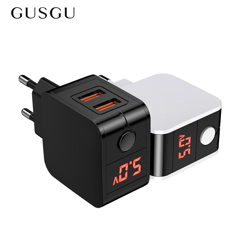 GUSGU USB Charger LED Display Dual Fast Phone Charger Adapter Wall Travel Charger EU for iPhone