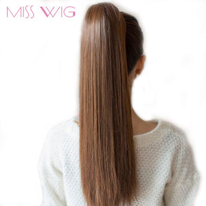 "MISS WIG 12 Colors Available 22"" Long Silky Straight Synthetic Drawstring Ponytail Clip in Extension"