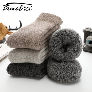 Super Thicker Solid Socks Merino Wool Rabbit Socks Against Cold Snow Russia Winter Warm Funny