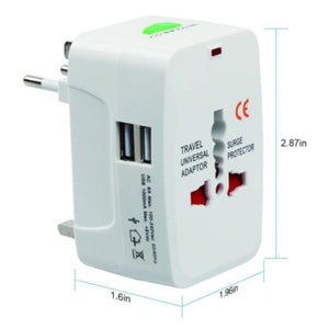 All in One Universal International Plug Adapter 2 USB Port World Travel AC Power Charger Adaptor