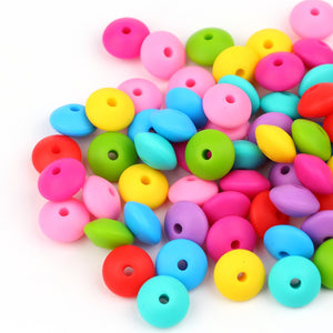 10pcs/lot Lentils Silicone Beads For Teething Necklace Baby Teether Toy Accessories Silicon Pacifier Beads Bpa Free 12*12*7mm