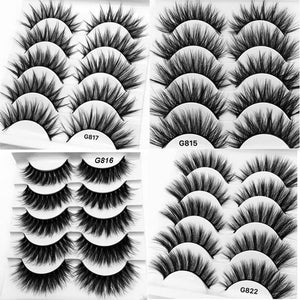 5 pairs 3D mink lashes false eyelashes natural makeup eyelash extension long cross volume soft