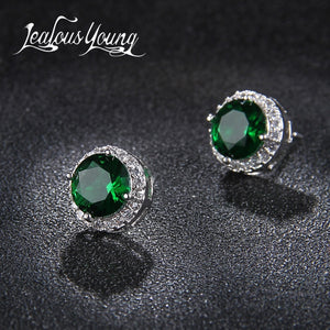 Classic Green AAA Cubic Zirconia Stud Earrings Round Crystal Girl Ear Studs For Women Multicolor