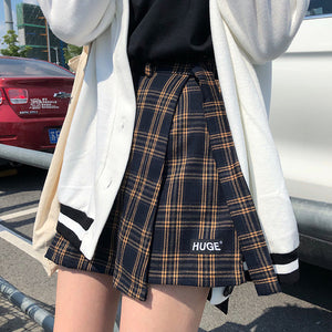 Casual Basic Fashion All Match Plaid Vintage Irregular High Waist College Wind New Fashion Female Women Mini Skirts