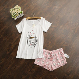 Cute pajamas sets with white and pink /grey and green color coffee cups printed cotton fashionl women pajama sets hot selling
