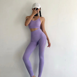 Energy Seamless Leggings+Strappy Bra 2Pcs Yoga Set Women Gym Fitness Clothing High Waist Yoga